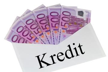 Kredit - Kuvert mit 500 Euro Banknoten