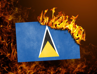 Flag burning - Saint Lucia