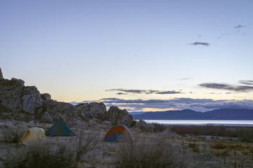 Camping on the Great Salt Lake, Utah
