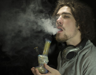 Getting high smoking a bong