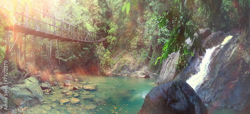 rope bridge over a river in the jungle - 79212370