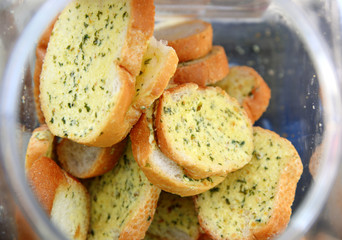 garlic breads in bottle, selective focus.
