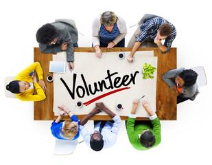 People Meeting Single Word Volunteer Concept
