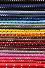 Colorful polka dot fabric for background