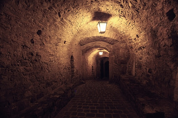 Night street in the old town stone fortress