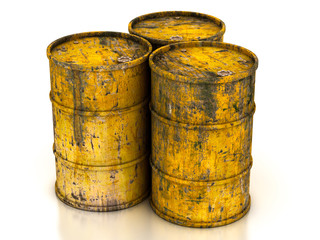 сhemical yellow old barrels