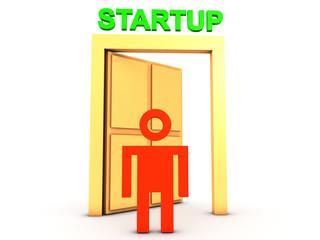 Man at the startup door