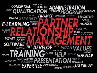 Partner Relationship Management word cloud, business concept