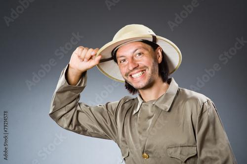 Funny safari hunter against background - 79214578