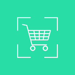 white shopping trolley icon in dotted line frame