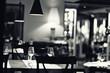 canvas print picture - glass of wine restaurant interior serving dinner