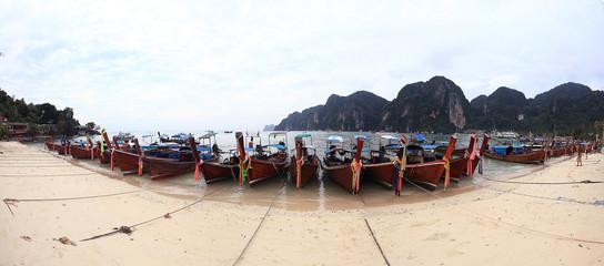 sea sky mountain thailand boats