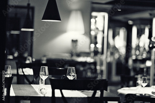 glass of wine restaurant interior serving dinner - 79215102