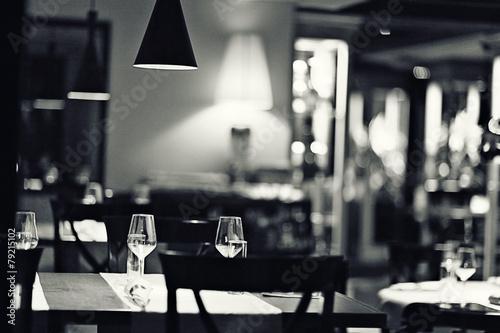 canvas print picture glass of wine restaurant interior serving dinner