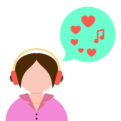 girl listening to music with green speech bubble