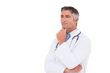 Doctor thinking with hand on chin