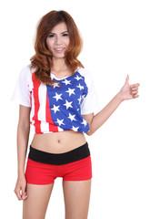 woman and american flag shirt