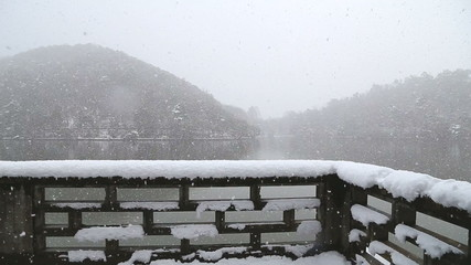 heavy snow is on the lake