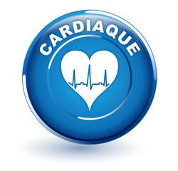 cardiaque sur bouton bleu