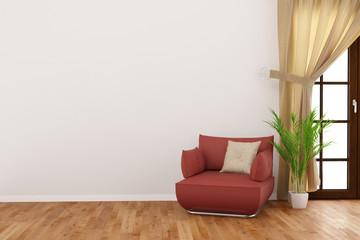 Wand im Zimmer mit Sessel