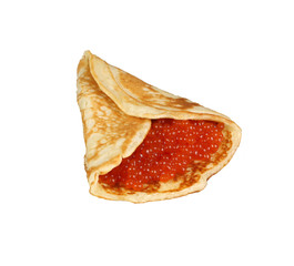 isolated pancake with red caviar
