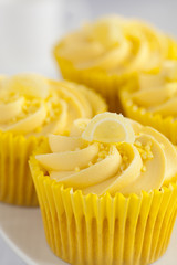 Lemon cupcakes with butter cream swirl and candid fruit