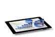 Leinwanddruck Bild - Auswertung von Statistik auf Tablet PC