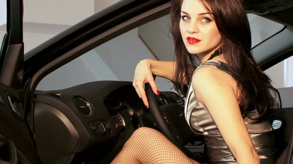 Sexy Lady In Black Car