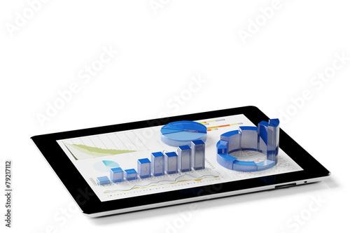 Leinwanddruck Bild Auswertung von Statistik auf Tablet PC