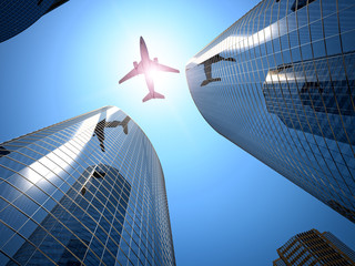 airplane and skyscraper