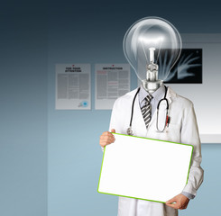 doctor with empty board and lamp-head