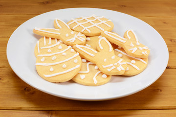Plate of Easter cookies - eggs and bunnies