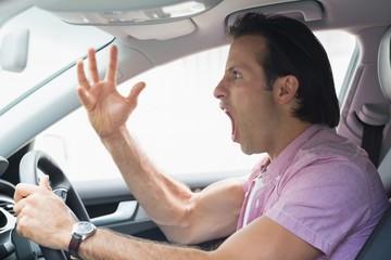 Man having road rage