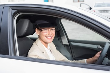 Chauffeur smiling at camera