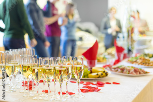 Banquet event. Champagne on table. - 79219152
