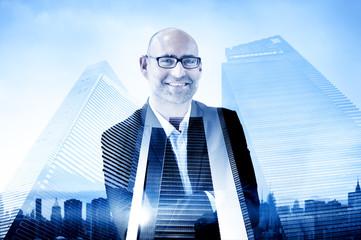 Businessman Corporate City Buildings Concept