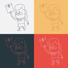 Character illustration design. Girl sending files cartoon,eps