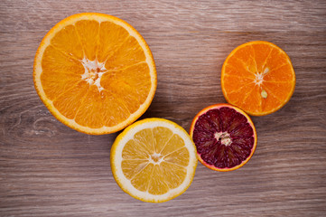 Set of sliced citrus fruits top view