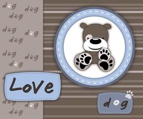 Love dog card in scrapbook style