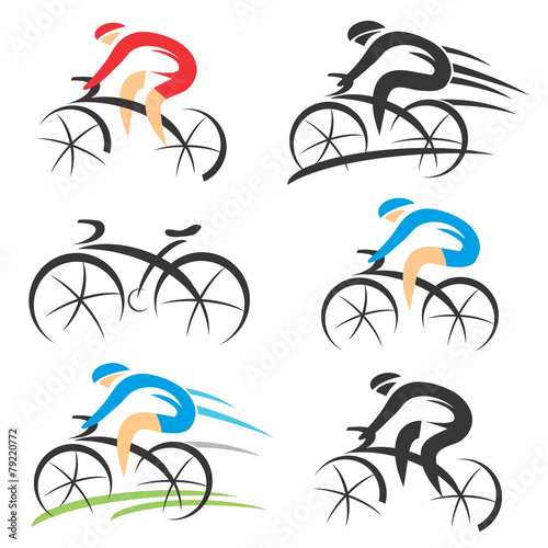 Icons with stylized cyclist
