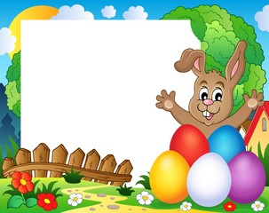 Frame with Easter rabbit theme 2