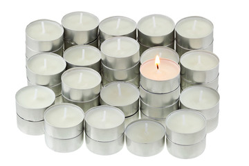 A group of Tea lights isolated on white background