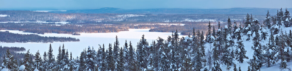 Winter panorama in Northern Finland.