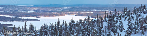 Fotobehang Noord Europa Winter panorama in Northern Finland.