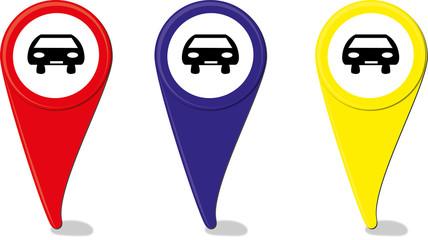Tre icone navigatore mappa
