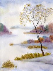 Snow-covered lake in the mist
