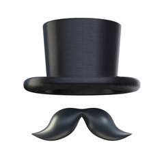 Retro moustaches and stovepipe top hat