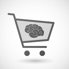 Shopping cart icon with a brain