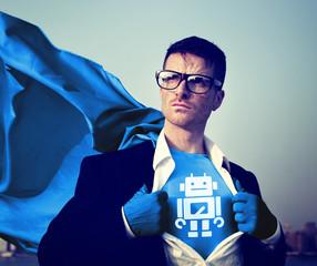 Robot Strong Superhero Success Professional Empowerment Concept