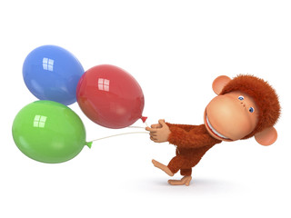 the red monkey with balloon